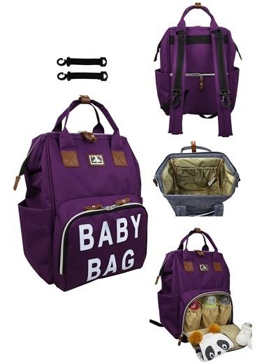 Stylo Roma Baby Bag Baskılı Anne Bebek Bakım Sırt Çantas Mor